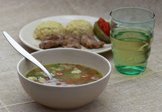 Lunch menu - vegetable soup and pork tenderlion Stock Images