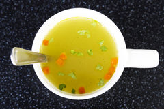 Hot vegetable soup. Up front view. Stock Photo