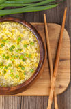 Hot vegetarian egg drop soup with starch noodlein Royalty Free Stock Photography