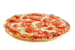 Hot vegetarian pizza. A hot vegetarian pizza, with juicy fresh tomatoes Royalty Free Stock Photo