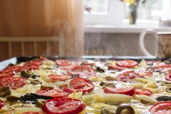 Hot vegetarian pizza over which steam from mozzarella cheese, tomatoes and olives stock photos