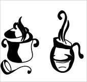 Hot Vessels. Two vessels are hot, drawing in black and white, unique, vector Royalty Free Stock Photo