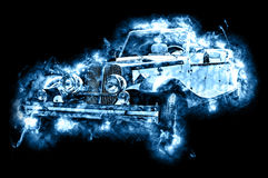 Hot vintage car. Drawn vehicle, similar to a sports retro car in flames Stock Images