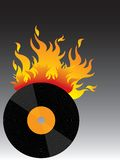 Hot vinyl on fire! vector illustration