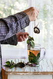Hot violet basil tea Royalty Free Stock Photography
