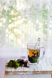 Hot violet basil tea Stock Photos