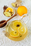 Hot vitamin drink -Citrus tea with ginger, honey and spices. Stock Images