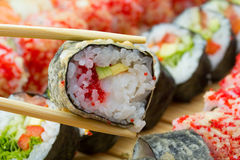 Hot or warm sushi roll takusen in tempura Stock Images