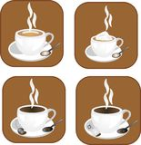 Hot, warming drinks illustrations. Coffee, tea and hot chocolate icons, ready for many usages.. and for all types of hot drinks Royalty Free Stock Photos