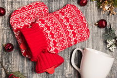 Hot water bottle on the background Stock Images