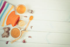 Hot water bottle, cup of tea and ingredients for preparation warming beverage, copy space for text Royalty Free Stock Photos