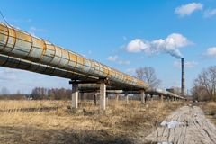 Hot water pipelines Royalty Free Stock Photo