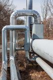 Hot water pipes Stock Photo