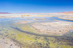 Hot water ponds and frozen lake on the Andes, Bolivia. Hot water ponds in geothermal region of the Andean Highlands in Bolivia. Frozen salt lake, distant Stock Images