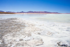 Hot water ponds and frozen lake on the Andes, Bolivia. Hot water ponds in geothermal region of the Andean Highlands in Bolivia. Frozen salt lake, distant Royalty Free Stock Image