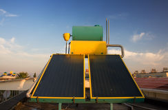 Hot water solar heating. Systems on rooftop Stock Photography