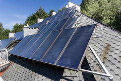 Hot water solar heating system Royalty Free Stock Image