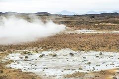 Hot water steam on Hverir, myvatn, Iceland stock photography