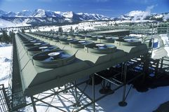 Hot water to electric power at the Geothermal Power Plant at Mammoth-Pacific, CA Stock Photo