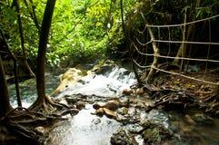 Hot waterfall Thai call Namtok ron klong thom Royalty Free Stock Photos