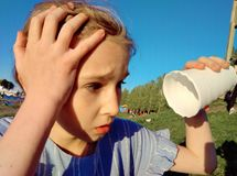 Child in hot weather royalty free stock photography