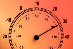 Hot weather concept. Face of needle thermometer with high temperature. Scale in Celsius and Fahrenheit. Burning fired color. Overlay stock photography