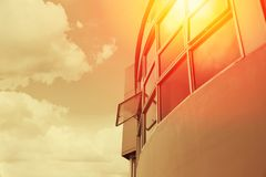 Hot weather overheat UV from sun protection by office building. Glass technology concept Royalty Free Stock Images
