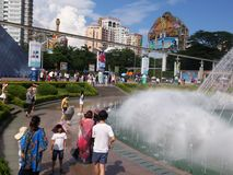 The hot weather, Shenzhen window of the world tourist attractions, there are still a lot of tourists under the scorching sun in th. E play. Tourists or take Royalty Free Stock Photos