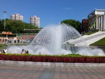 The hot weather, Shenzhen window of the world tourist attractions, there are still a lot of tourists under the scorching sun in th. E play. Tourists or take Stock Image