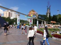 The hot weather, Shenzhen window of the world tourist attractions, there are still a lot of tourists under the scorching sun in th. E play. Tourists or take Royalty Free Stock Images