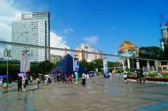 The hot weather, Shenzhen window of the world tourist attractions, there are still a lot of tourists under the scorching sun in th Royalty Free Stock Photo