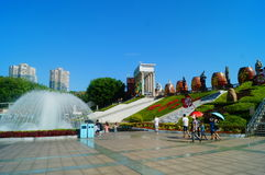 The hot weather, Shenzhen window of the world tourist attractions, there are still a lot of tourists under the scorching sun in th Stock Photo