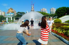 The hot weather, Shenzhen window of the world tourist attractions, there are still a lot of tourists under the scorching sun in th Royalty Free Stock Image