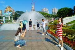 The hot weather, Shenzhen window of the world tourist attractions, there are still a lot of tourists under the scorching sun in th Royalty Free Stock Images