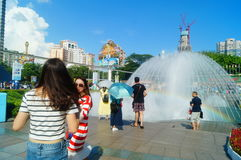 The hot weather, Shenzhen window of the world tourist attractions, there are still a lot of tourists under the scorching sun in th Stock Photography