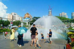 The hot weather, Shenzhen window of the world tourist attractions, there are still a lot of tourists under the scorching sun in th Stock Images