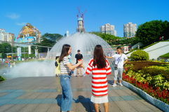 The hot weather, Shenzhen window of the world tourist attractions, there are still a lot of tourists under the scorching sun in th Stock Photos