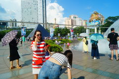 The hot weather, Shenzhen window of the world tourist attractions, there are still a lot of tourists under the scorching sun in th Royalty Free Stock Photography
