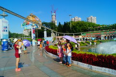 The hot weather, Shenzhen window of the world tourist attractions, there are still a lot of tourists under the scorching sun in th Stock Image