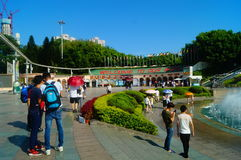 The hot weather, Shenzhen window of the world tourist attractions, there are still a lot of tourists under the scorching sun in th Royalty Free Stock Photos