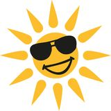 Hot weather - Smiling sun with sun glasses. Vector Vector Illustration