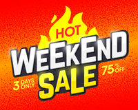 Hot Weekend Sale banner design template Royalty Free Stock Photos