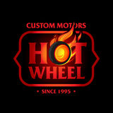 Hot Wheel in Fire flame Vintage Logo design  template, black version. Car Logotype. T-shirt design. Concept icon for race, auto repair service, tire shop Royalty Free Stock Photo