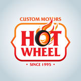 Hot Wheel in Fire flame Vintage Logo design  template. Car Logotype. T-shirt design. Concept icon for race. Hot Wheel in Fire flame Vintage Logo design Stock Image