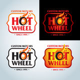 Hot Wheel in Fire flame Vintage Logo design vector template. Car Logotype. T-shirt design. Concept icon for race. Stock Photos