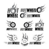 Hot wheel, Racing flat labels set. Blaze and flash logo, emblem, auto transport, flame tire, isolated  illustrations. Black and white version Royalty Free Stock Image