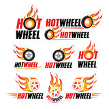 Hot wheel, Racing flat labels set. Blaze and flash logo, emblem, auto transport, flame tire, isolated vector illustrations. Hot wheel, Racing flat labels set Royalty Free Stock Photo