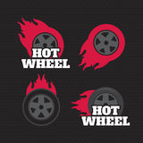 Hot wheel, Racing flat labels set. Blaze and flash logo. Eps10 Royalty Free Stock Photo