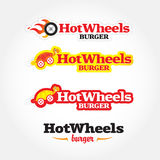 Hot wheels cafe logo template. Fast food, express cafe logo template. Food theme logotype  template. Isolated  illustration Stock Photos
