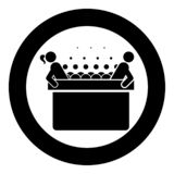 Hot whirlpool with woman and man Spa Bathtub with foam bubbles Bath Relax bathroom Bath spa icon in circle round black color stock illustration